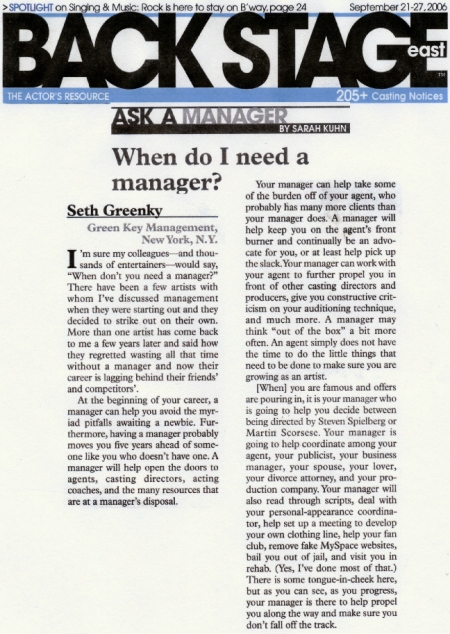 "Green Key Management answers the question, ""When Do I Need A Manager?"""