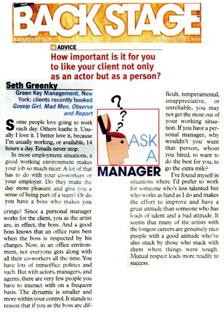 "Green Key Management, LLC answers the question in ASK A MANAGER, ""Back Stage"" How Important Is It For You To Like Your Client Not Only As An Actor But As A Person?"""